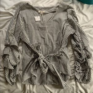 Ruffle Sleeved, Front Tie Blouse